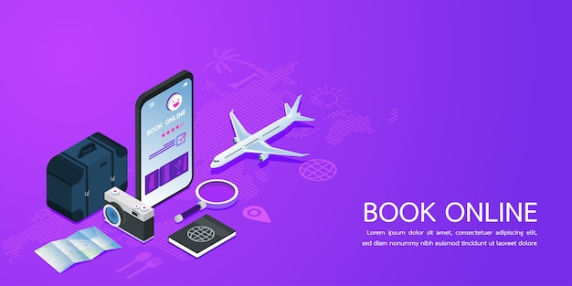 Modelo de site de página de aterrissagem para reservas on-line férias de férias de verão. Vetor Premium