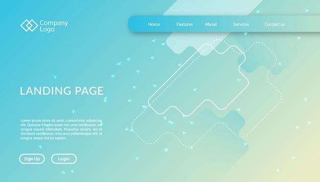 Modelo de site de página de destino com design de forma geométrica Vetor Premium