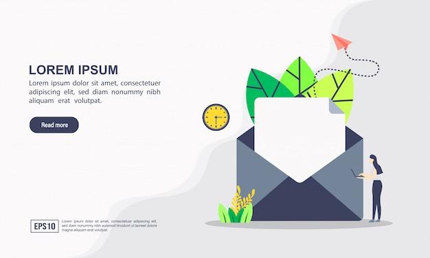 Modelo de site de página de destino do conceito de marketing e comunicação por e-mail Vetor Premium