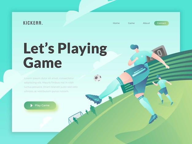 Modelo de site de site de jogos Vetor Premium