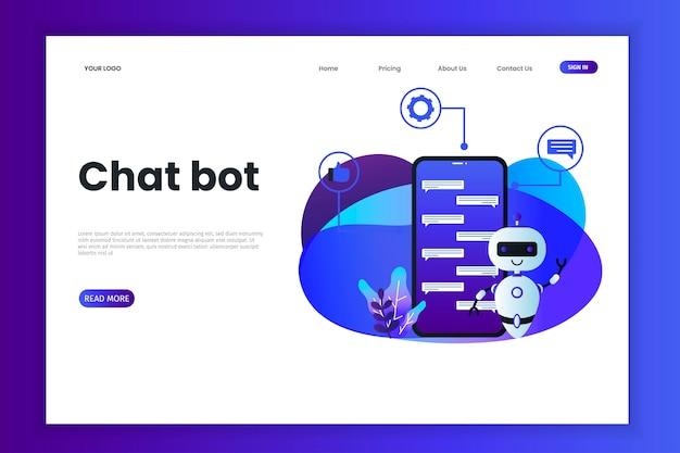 Modelo de site de tecnologia chatbot Vetor Premium