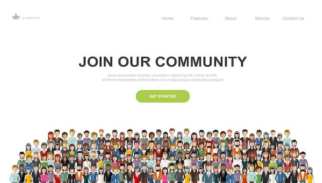 Modelo de site e página de destino para se juntar à nossa comunidade Vetor Premium