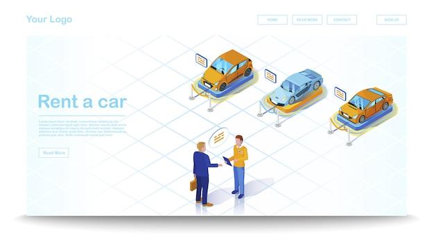 Modelo de site isométrica de concessionária de carros Vetor Premium