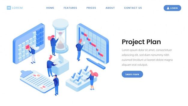 Modelo de site isométrico de planejamento de projeto Vetor Premium