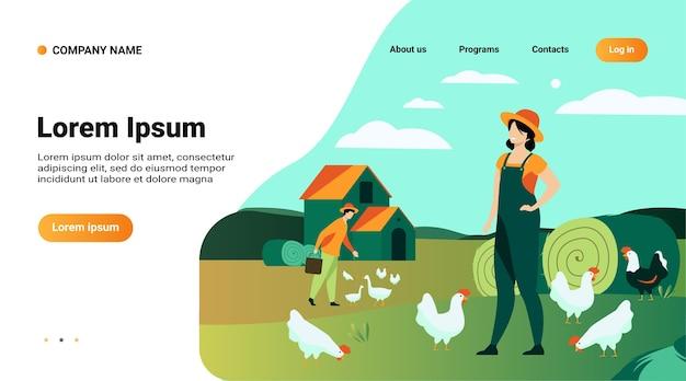 Modelo de site, página de destino com ilustração de fazendeiros trabalhando em ilustração vetorial plana isolada de fazenda de galinhas Vetor grátis
