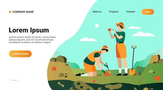 Modelo de site, página de destino com ilustração de um arqueólogo descobrindo restos de dinossauros Vetor grátis