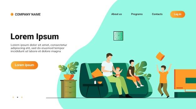 Modelo de site, página de destino com ilustração do conceito de família e paternidade Vetor grátis