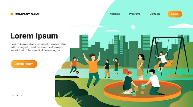 Modelo de site, página inicial com ilustração de crianças no conceito de playground. crianças felizes balançando, chutando bola de futebol, brincando na caixa de areia Vetor grátis