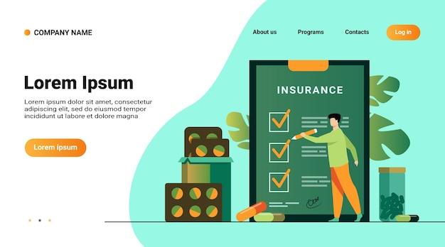 Modelo de site, página inicial com ilustração do contrato de seguro saúde. homem estudando lista de seguros entre medicamentos e pílulas hospitalares Vetor grátis