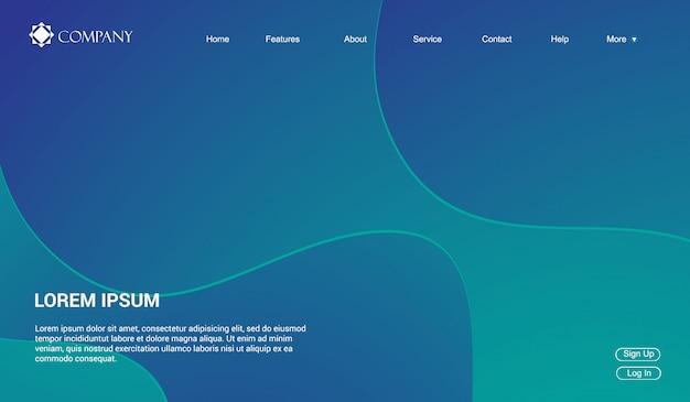 Modelo de site para sites ou aplicativos. líquido fluido ondas gradiente mínimo moderno Vetor Premium