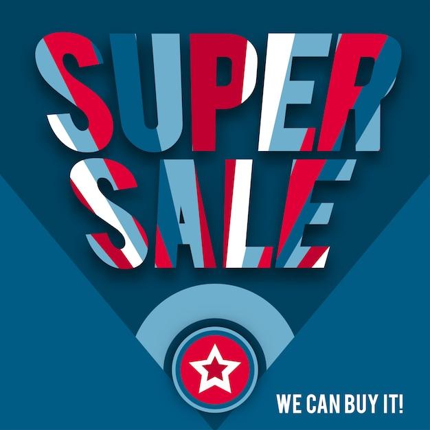 Modelo de super venda em estilo americano Vetor Premium