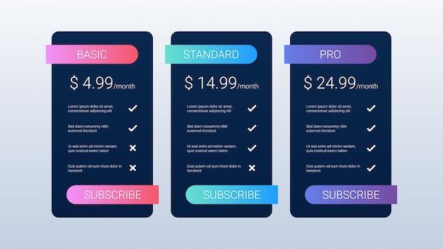 Modelo de tabela de preços em preto Vetor Premium
