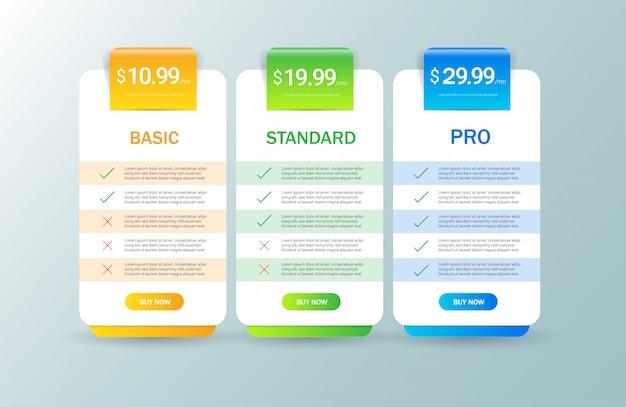 Modelo de tabela de preços moderna Vetor Premium