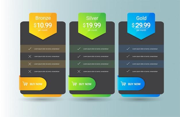 Modelo de tabela de preços moderno três opções Vetor Premium