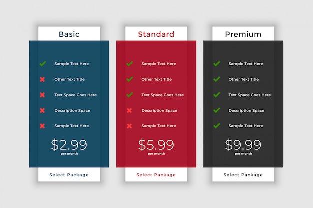 Modelo de tabela de preços para site e aplicativo Vetor grátis
