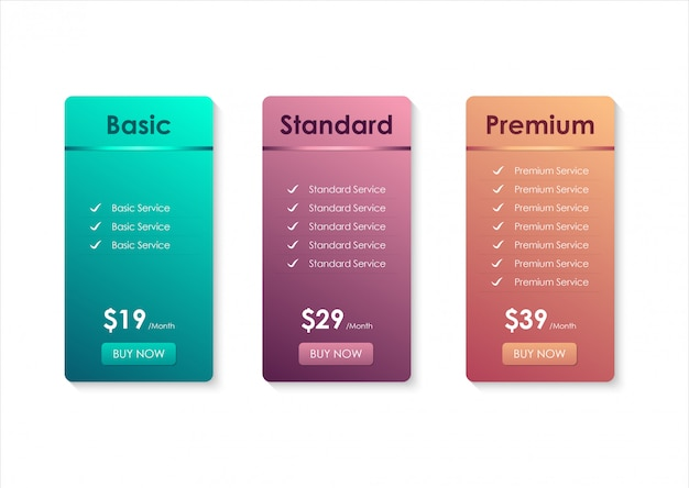 Modelo de tabela de preços Vetor Premium