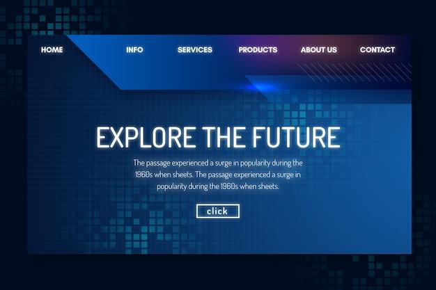 Modelo de tecnologia e futura página de destino Vetor grátis