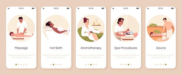Modelo de tela de aplicativo móvel de integração de procedimentos de spa resort. banho quente. aromaterapia para o bem-estar. passo a passo do site com personagens. desenho animado de smartphone ux, iu, gui Vetor Premium
