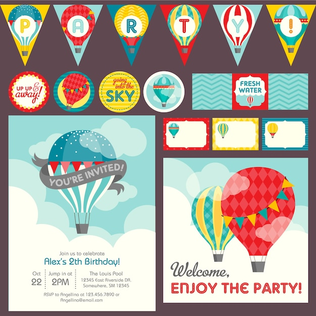 Modelo de tema de festa de balão de ar quente Vetor Premium