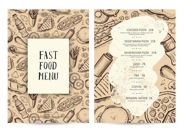 Modelo de tipografia de menu de comida de restaurante Vetor Premium