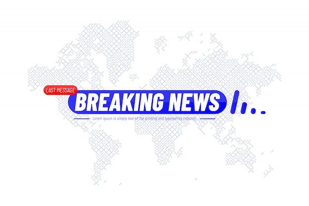 Modelo de título de notícias de última hora com mapa-múndi de tecnologia para canal de tv de tela Vetor Premium