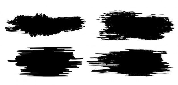 Modelo de traçado de pincel preto grunge Vetor grátis