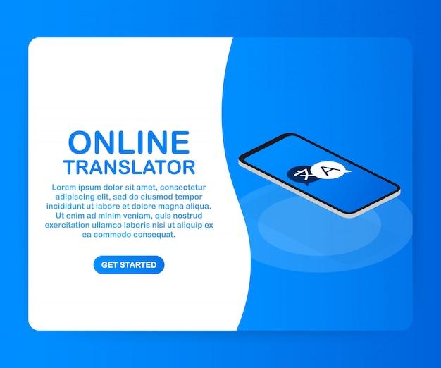 Modelo de tradutor online Vetor Premium