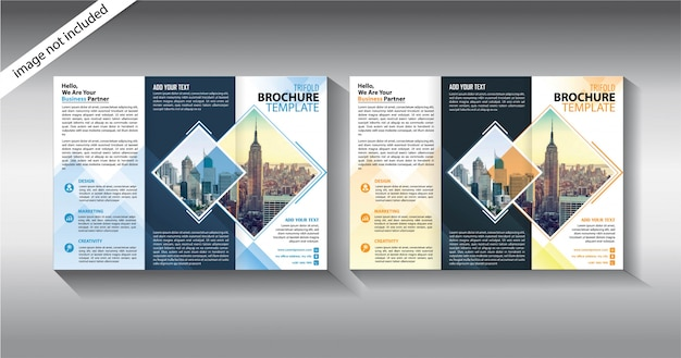 Modelo de três dobras brochura para negócios de promoção Vetor Premium