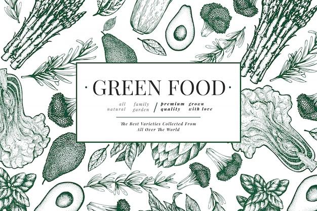 Modelo de vegetais verdes. Vetor Premium