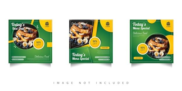 Modelo de venda de comida em mídia social com gradações verdes Vetor Premium