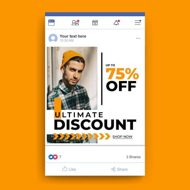 Modelo de venda de moda no facebook com foto Vetor grátis