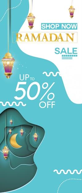 Modelo de venda de rollover kareem ramadã Vetor Premium