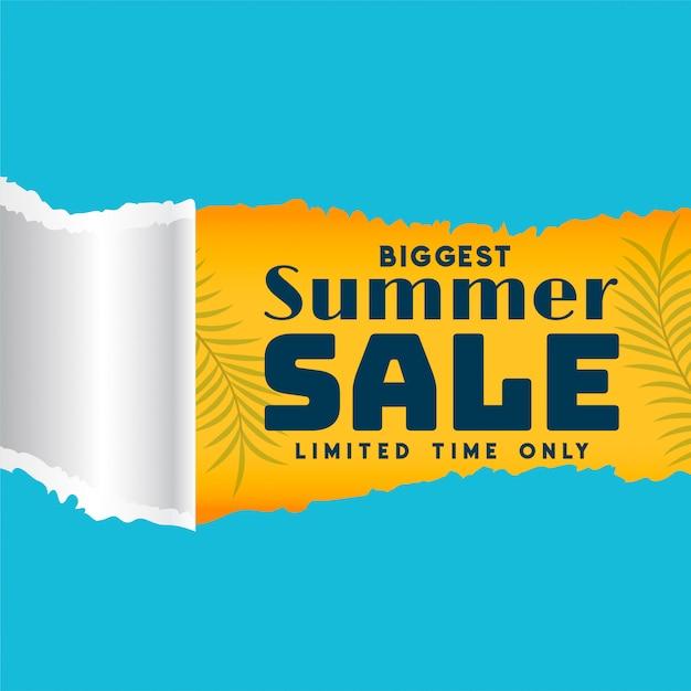 Modelo de venda de verão no banner de estilo de papel rasgado Vetor grátis