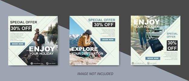 Modelo de venda de viagens modernas para post de mídia social Vetor Premium