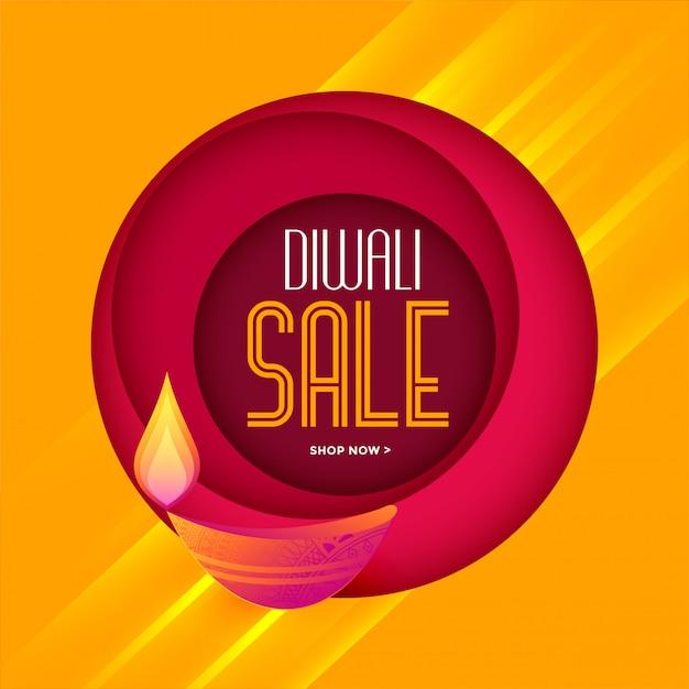 Modelo de venda elegante diwali em cores quentes Vetor grátis