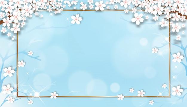 Modelo de venda primavera com galhos de cerejeira com moldura dourada sobre fundo azul pastel. Vetor Premium