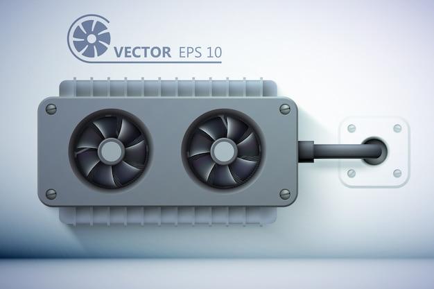 Modelo de ventilação realista Vetor grátis