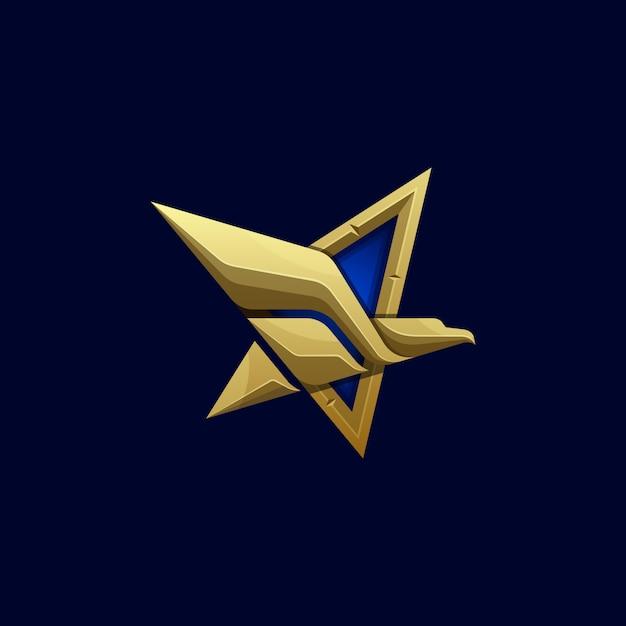 Modelo de vetor abstrato ilustração águia de estrelas Vetor Premium