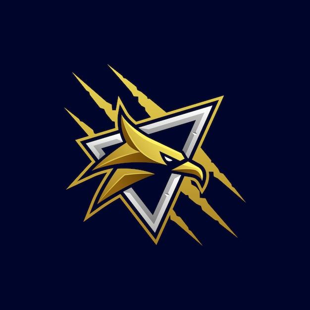 Modelo de vetor agressivo de cabeça de águia Vetor Premium