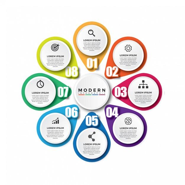Modelo de vetor colorido moderno infográfico Vetor Premium