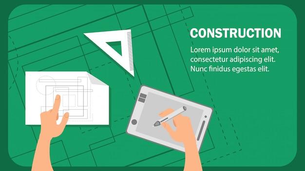 Modelo de vetor de banner plana de site de construção. Vetor Premium