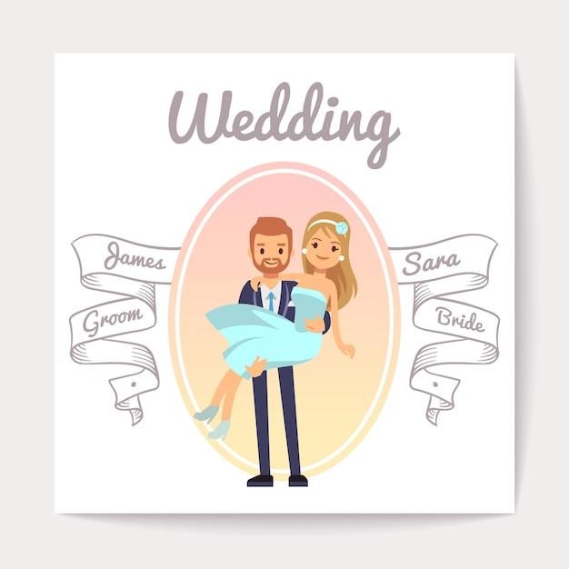 Modelo de vetor de cartão de convite de casamento vintage com casal feliz Vetor Premium