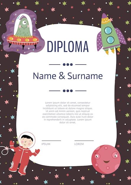 Modelo de vetor de desenhos animados de diploma Vetor Premium
