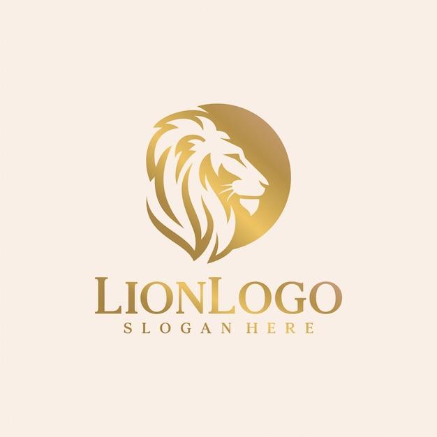 Modelo de vetor de design de logotipo de leão de luxo Vetor Premium