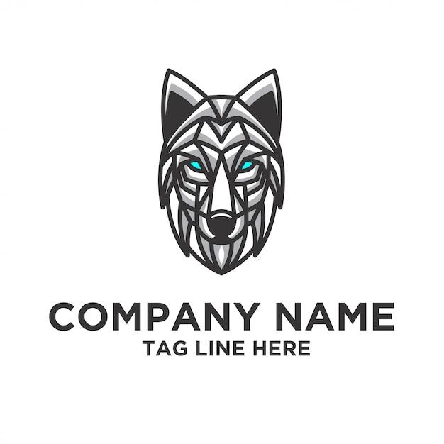Modelo de vetor de design de logotipo de lobo Vetor Premium