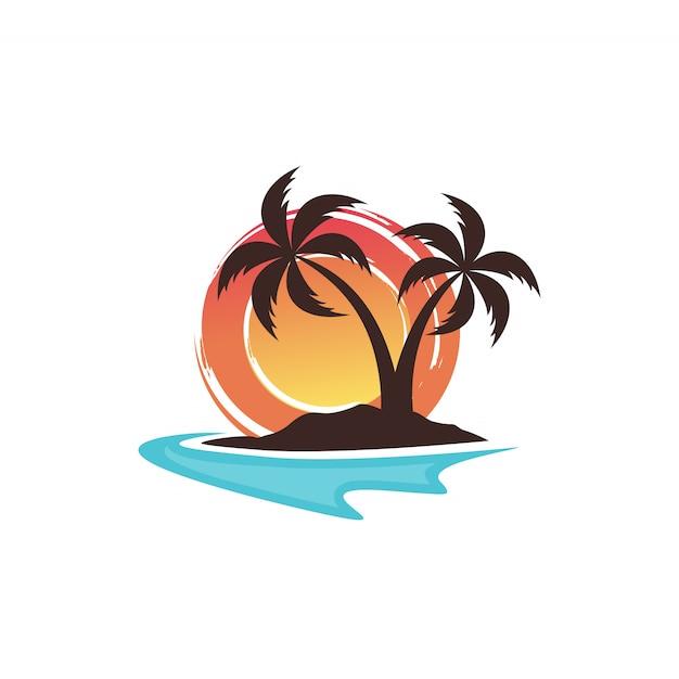 Modelo de vetor de design de logotipo de praia Vetor Premium