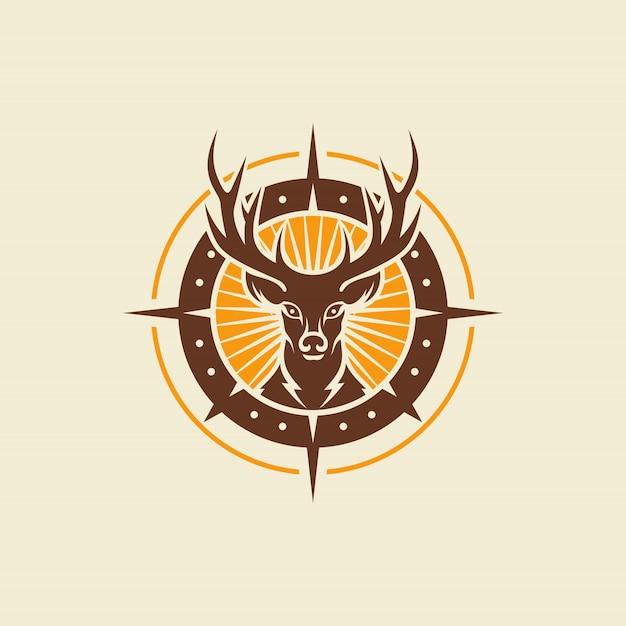 Modelo de vetor de design vintage logotipo veado selvagem Vetor Premium