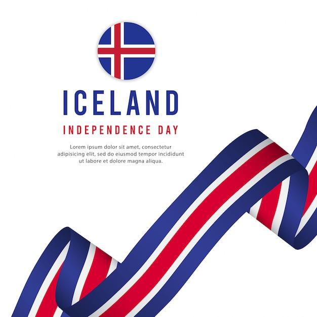 Modelo de vetor de dia da independência de islândia. Vetor Premium