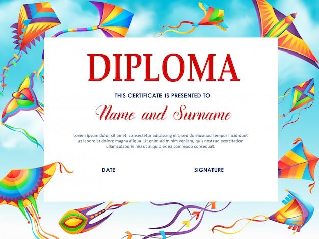 Modelo de vetor de diploma escolar com pipas de desenho animado Vetor Premium