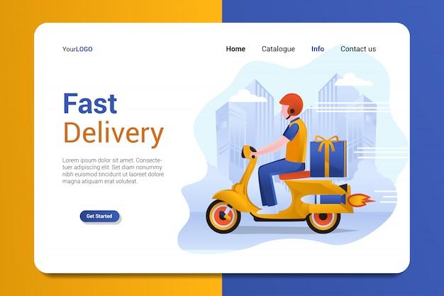 Modelo de vetor de fundo de página de destino de entrega rápida Vetor Premium